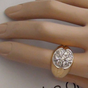 Retro and Vintage Cluster RING 18Kt Gold Plated Cz